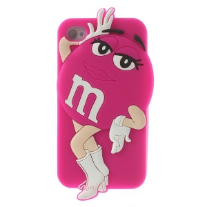 Rose Lovely Female M&Ms Rainbow Chocolate Bean Soft Silicone Case for iPhone 4 4S