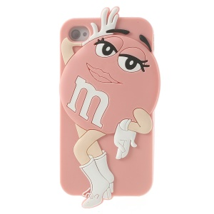 Pink Lovely Female M&Ms Rainbow Chocolate Bean Soft Silicone Cover for iPhone 4 4S
