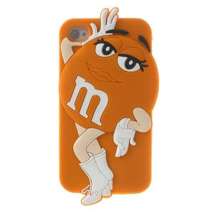 Orange Lovely Ms. Green M&Ms Bean Soft Silicone Skin Cover for iPhone 4 4S