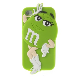 Green for iPhone 4 4S Lovely Ms. Green M&Ms Bean Soft Silicone Skin Cover