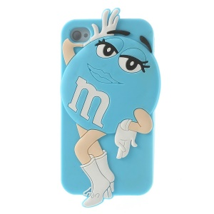 Blue for iPhone 4 4S Lovely Beauty M&Ms Bean Soft Silicone Cover Case