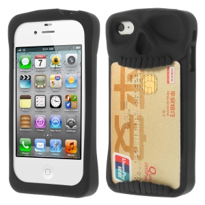 Leese Skull Silicone Card Holder Back Case for iPhone 4 4S - Black