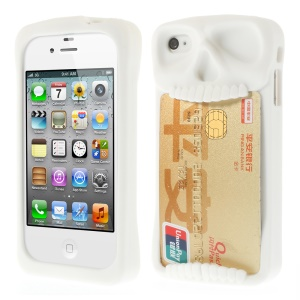 Leese Skull Silicone Card Holder Back Shell for iPhone 4 4S - White