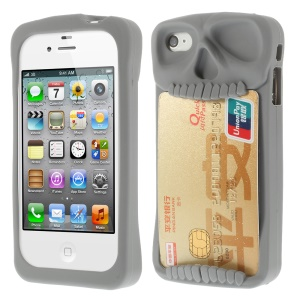 Leese Skull Card Holder Back Silicone Case for iPhone 4 4S - Gray