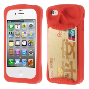 Leese Skull Card Holder Back Silicone Case Cover for iPhone 4 4S - Red