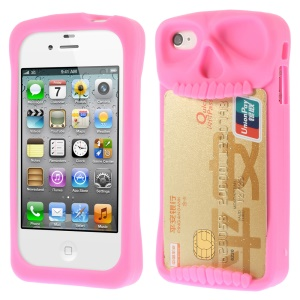 Leese Skull Card Holder Back Silicone Cover for iPhone 4 4S - Rose