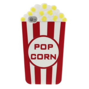 Red Vivid 3D Popcorn Silicone Jelly Case for iPhone 4s 4