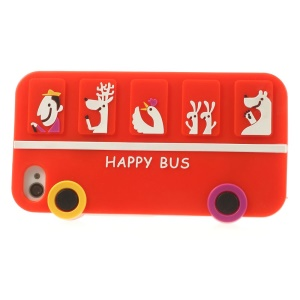 Happy Animal Bus Silicone Soft Case for iPhone 4s 4 - Red