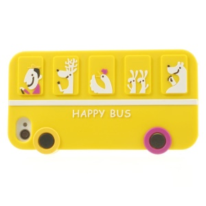Happy Animal Bus Silicone Shell Cover for iPhone 4s 4 - Yellow