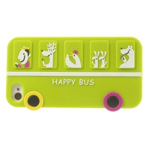 Happy Animal Bus Silicone Protective Case for iPhone 4s 4 - Green
