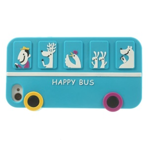 Happy Animal Bus Silicone Cover for iPhone 4s 4 - Baby Blue