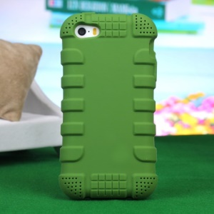 Impact-resistant Silicone Back Case for iPhone 4s 4 - Green