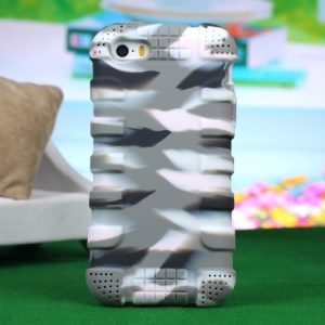 Impact-resistant Silicone Shell Case for iPhone 4s 4 - Camouflage Light Gray