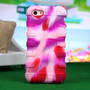 Impact-resistant Silicone Shell Case for iPhone 4s 4 - Camouflage Rose