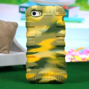 Impact-resistant Silicone Protective Cover for iPhone 4s 4 - Camouflage Yellow