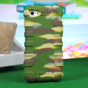 Impact-resistant Silicone Protective Cover for iPhone 4s 4 - Camouflage Green