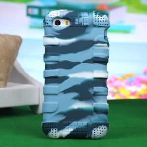 Impact-resistant Silicone Protective Cover for iPhone 4s 4 - Camouflage Blue