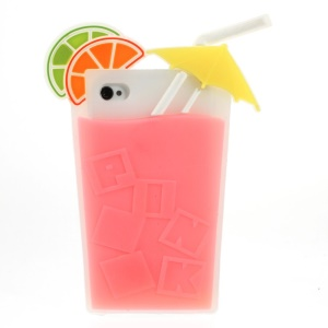 3D Fruit Juice Design Flexible Silicone Back Case for iPhone 4s 4 - Rose