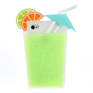 3D Fruit Juice Design Flexible Silicone Back Shell Cover for iPhone 4s 4 - Green