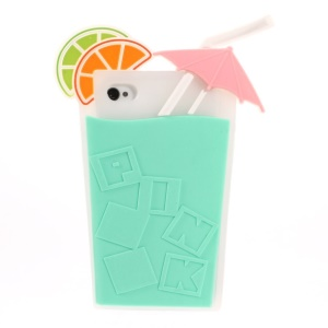 3D Fruit Juice Design Flexible Silicone Back Case Cover for iPhone 4s 4 - Cyan