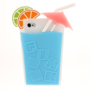 3D Fruit Juice Design Flexible Silicone Case for iPhone 4s 4 - Blue