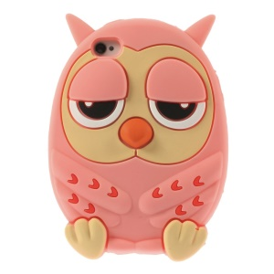 Owl Design Soft Silicone Protective Case for iPhone 4s 4 - Pink