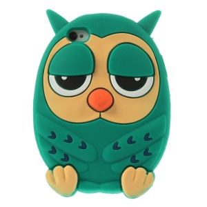 Owl Design Soft Silicone Protective Cover for iPhone 4s 4 - Green
