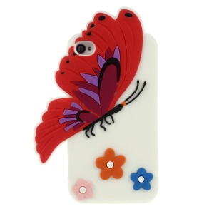 3D Butterfly & Flower Soft Silicone Back Case for iPhone 4s 4 - White