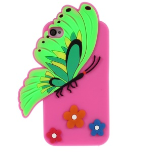 3D Butterfly & Flower Silicone Case Shell for iPhone 4s 4 - Rose