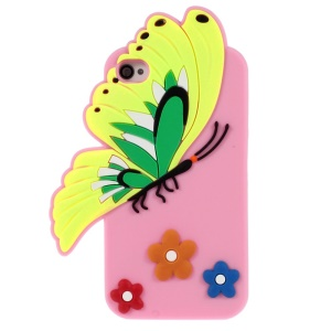 Vivid 3D Butterfly & Flower Silicone Cover Shell for iPhone 4s 4 - Pink