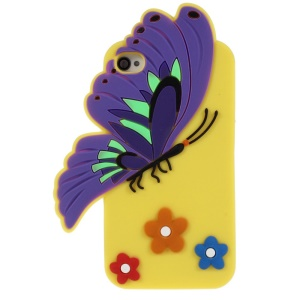 Vivid 3D Butterfly & Flower Flexible Silicone Back Shell for iPhone 4s 4 - Yellow