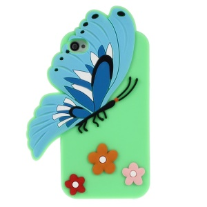 3D Butterfly & Flower Flexible Silicone Protective Shell for iPhone 4s 4 - Green