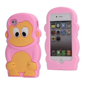 Cute 3D Monkey Shaped Soft Protective Silicone Jelly Case for iPhone 4 4S - Pink