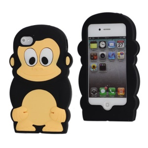 Cute 3D Monkey Shaped Soft Protective Silicone Jelly Case for iPhone 4 4S - Black