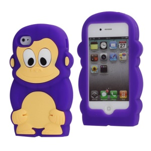 Cute 3D Monkey Shaped Soft Protective Silicone Jelly Case for iPhone 4 4S - Purple