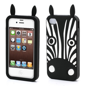 Lifelike 3D Hippo Silicone Gel Phone Case for iPhone 4 4S - Black