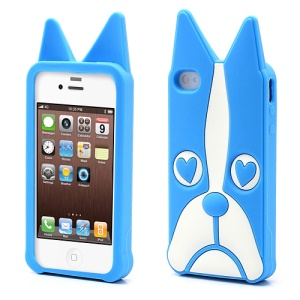 Cute 3D Dog Design Soft Silicone Case Cover  for iPhone 4 4S - Blue