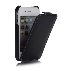 Melkco Ultra Slim Litchi Grain Jacka Type Premium Leather Flip Case for iPhone 4 4S - Black