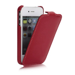 Melkco Ultra Slim Litchi Grain Jacka Type Premium Leather Flip Case for iPhone 4 4S - Red