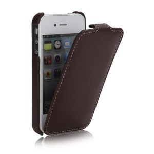 Melkco Ultra Slim Litchi Grain Jacka Type Premium Leather Flip Case for iPhone 4 4S - Brown