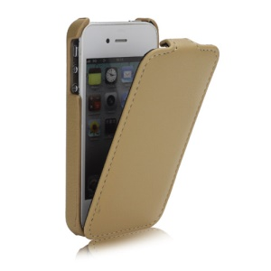 Melkco Ultra Slim Litchi Grain Jacka Type Premium Leather Flip Case for iPhone 4 4S - Beige