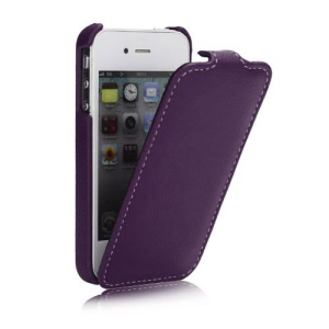 Melkco Ultra Slim Litchi Grain Jacka Type Premium Leather Flip Case for iPhone 4 4S - Purple