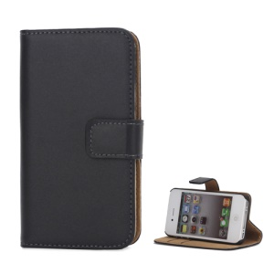 Genuine Split Leather Magnetic Folio Wallet Stand Case for iPhone 4 4S - Black