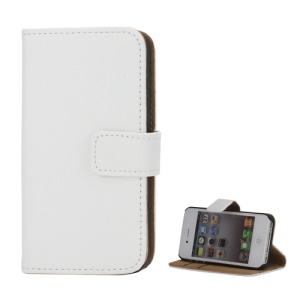 Genuine Split Leather Magnetic Folio Wallet Stand Case for iPhone 4 4S - White