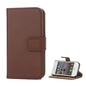 Genuine Split Leather Magnetic Folio Wallet Stand Case for iPhone 4 4S - Coffee