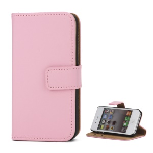 Genuine Split Leather Magnetic Folio Wallet Stand Case for iPhone 4 4S - Pink