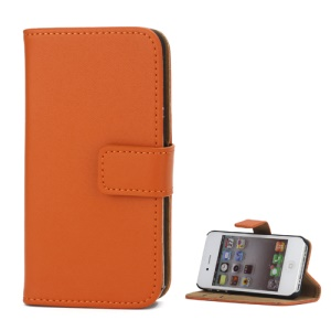 Genuine Split Leather Magnetic Folio Wallet Stand Case for iPhone 4 4S - Orange