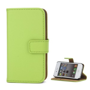 Genuine Split Leather Magnetic Folio Wallet Stand Case for iPhone 4 4S - Green