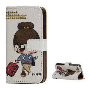 Travelling Girl Wallet Style Stand Leather Case Cover for iPhone 4 4S