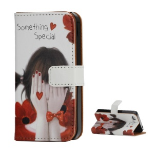 Stand Wallet Leather Case for iPhone 4 4S Girl Covring Face with Hands Design